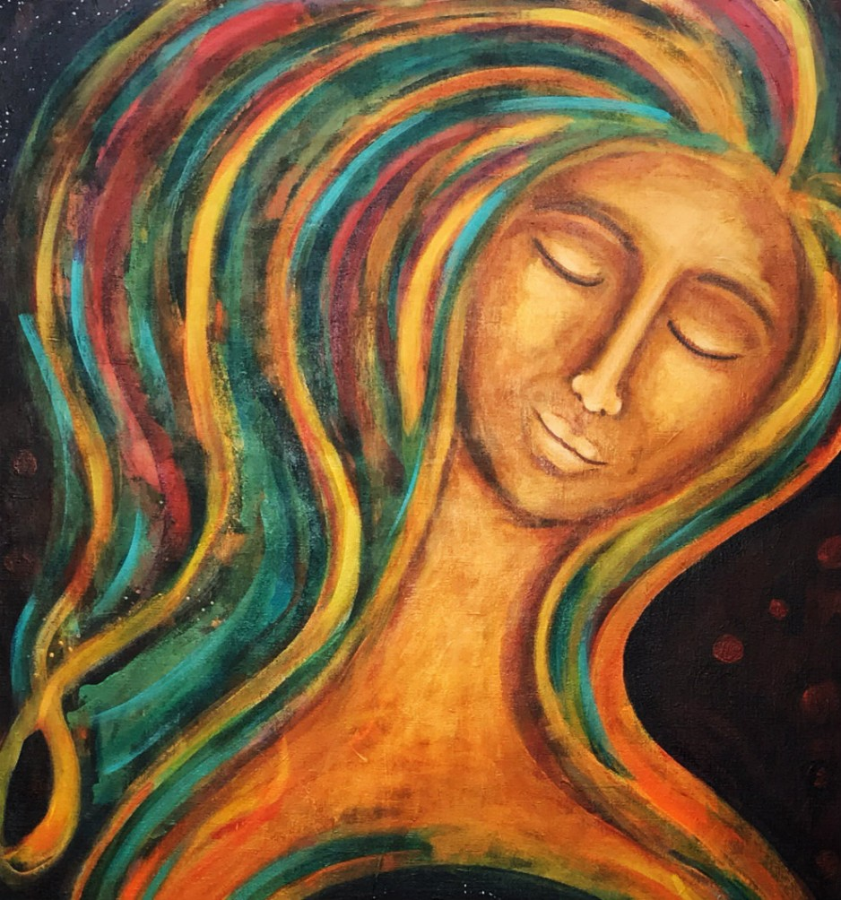 An abstract painting of a woman looking blissful.