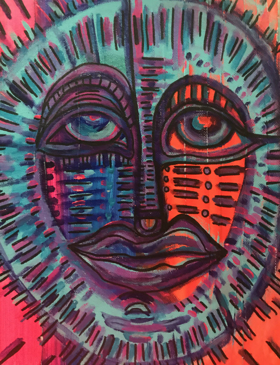 A painting of a face in an almost-tribal style.