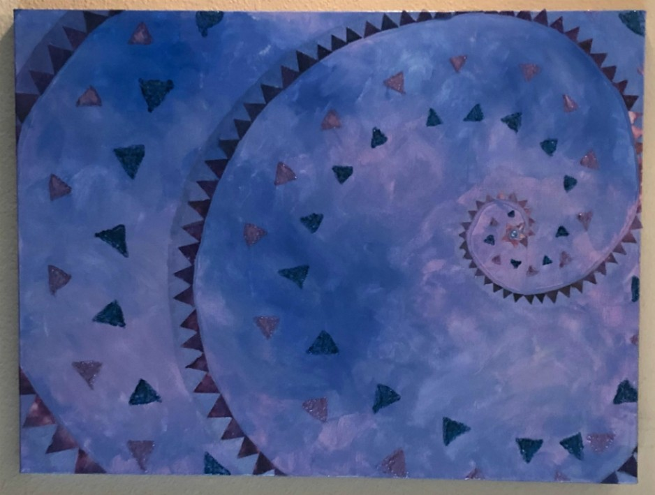 An abstract painting of three spirals on a purple and blue background.