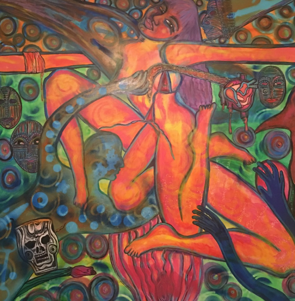 An abstract painting of a woman with several extra limbs and a skull.