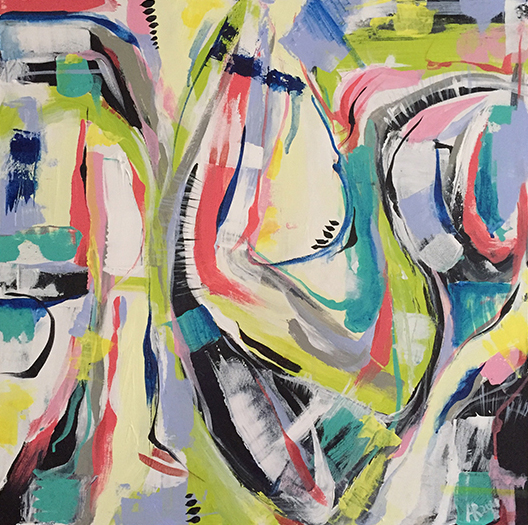 An abstract painting with many colored squiggles.