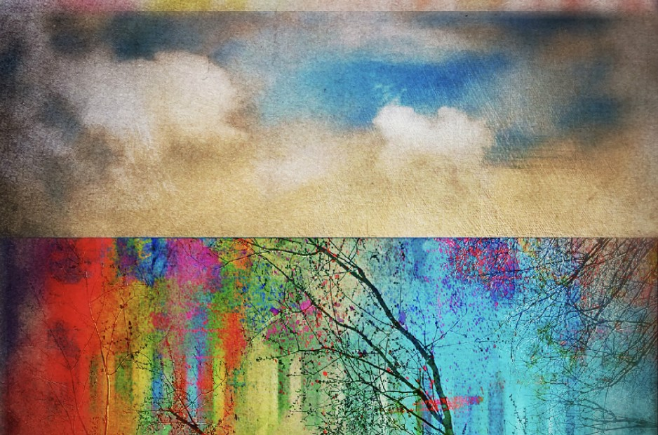 An abstract painting of clouds atop a colorful horizon.