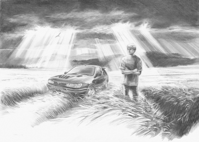 A black and white sketch of a man in front a car in a field.