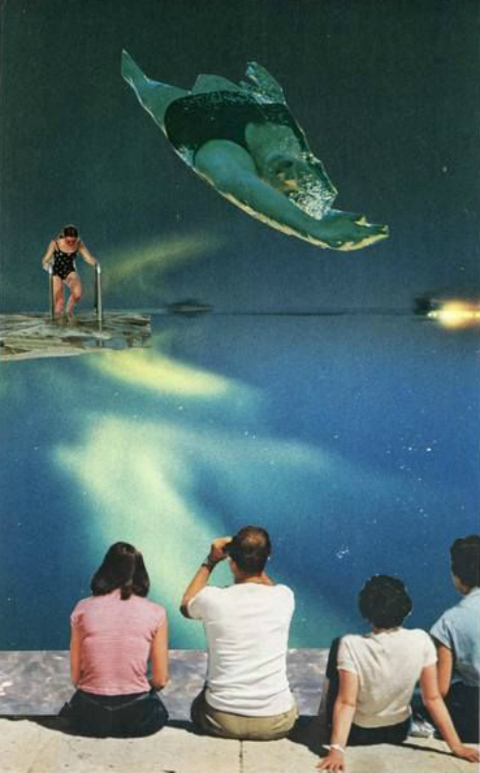 A painting of a woman about to dive, and another woman mid-leap, watched by a group of three in the foreground.