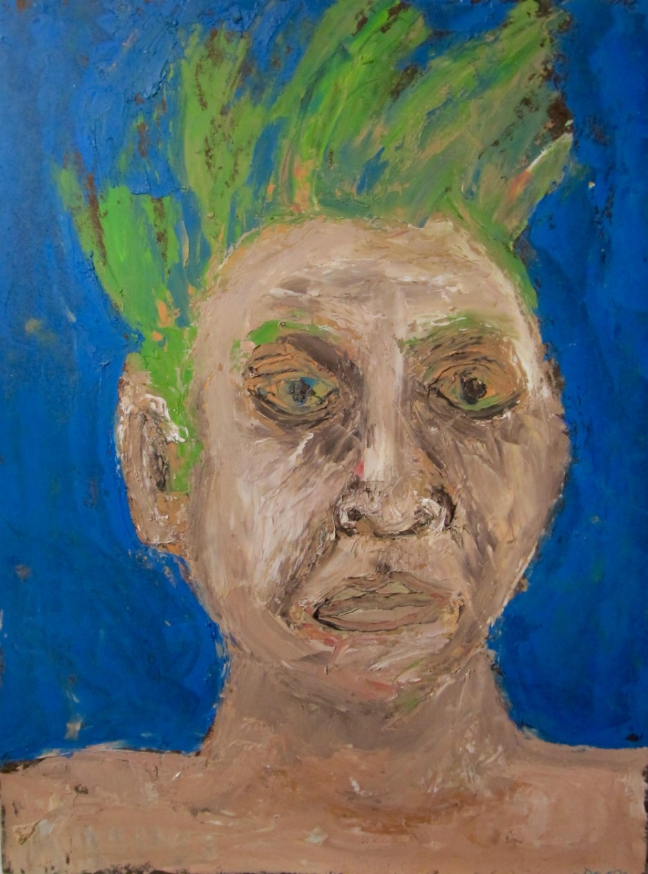 A portrait of an unpleasant-looking man with green hair.