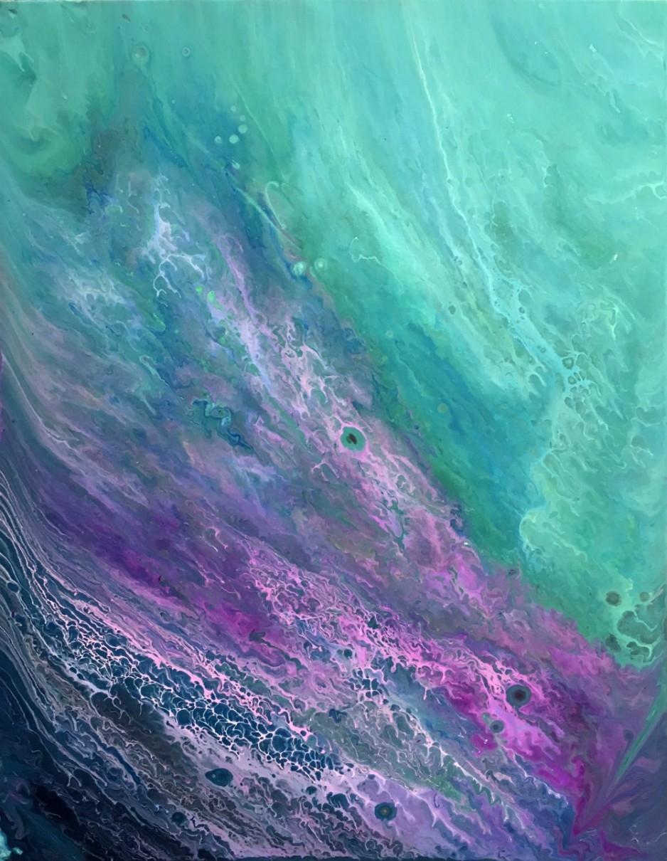 An abstract painting of swirling purples and greens.