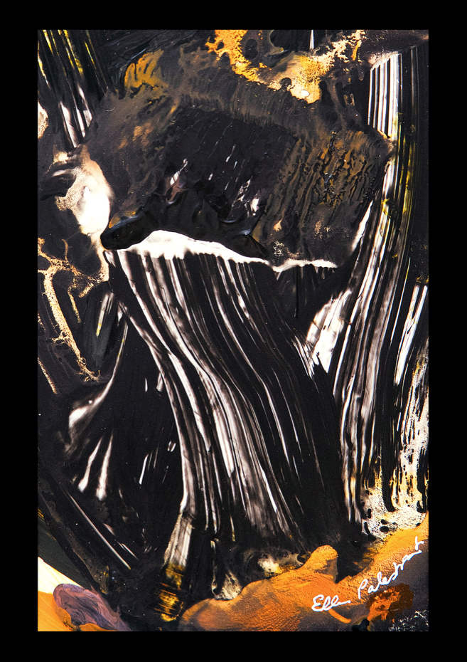 An absract painting with broad, black strokes infused with white.