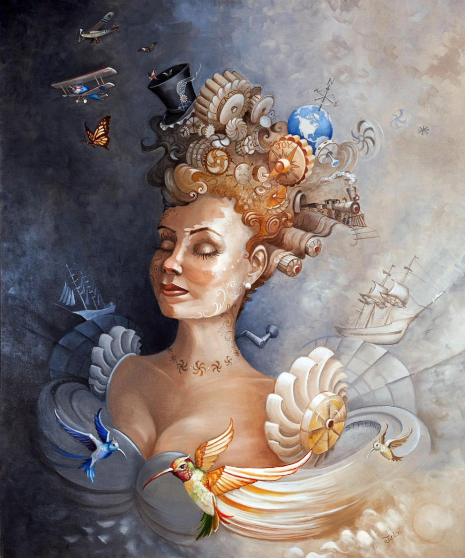 A painting of a woman's torso propelled by windmill wings, looking introspective and content.