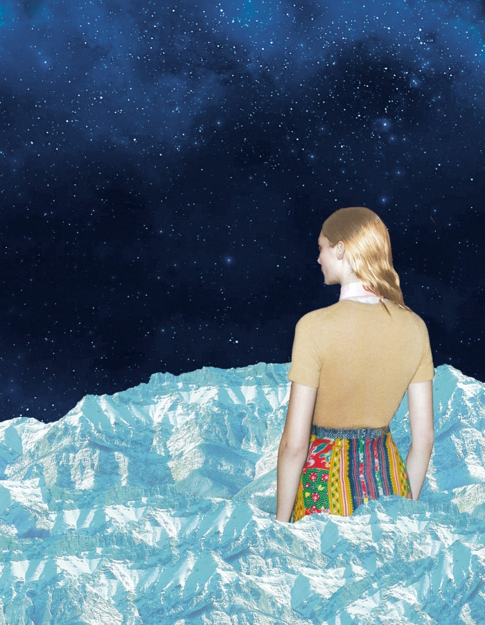 A collage of a woman on some kind of floating ice meteoroid staring off into space.