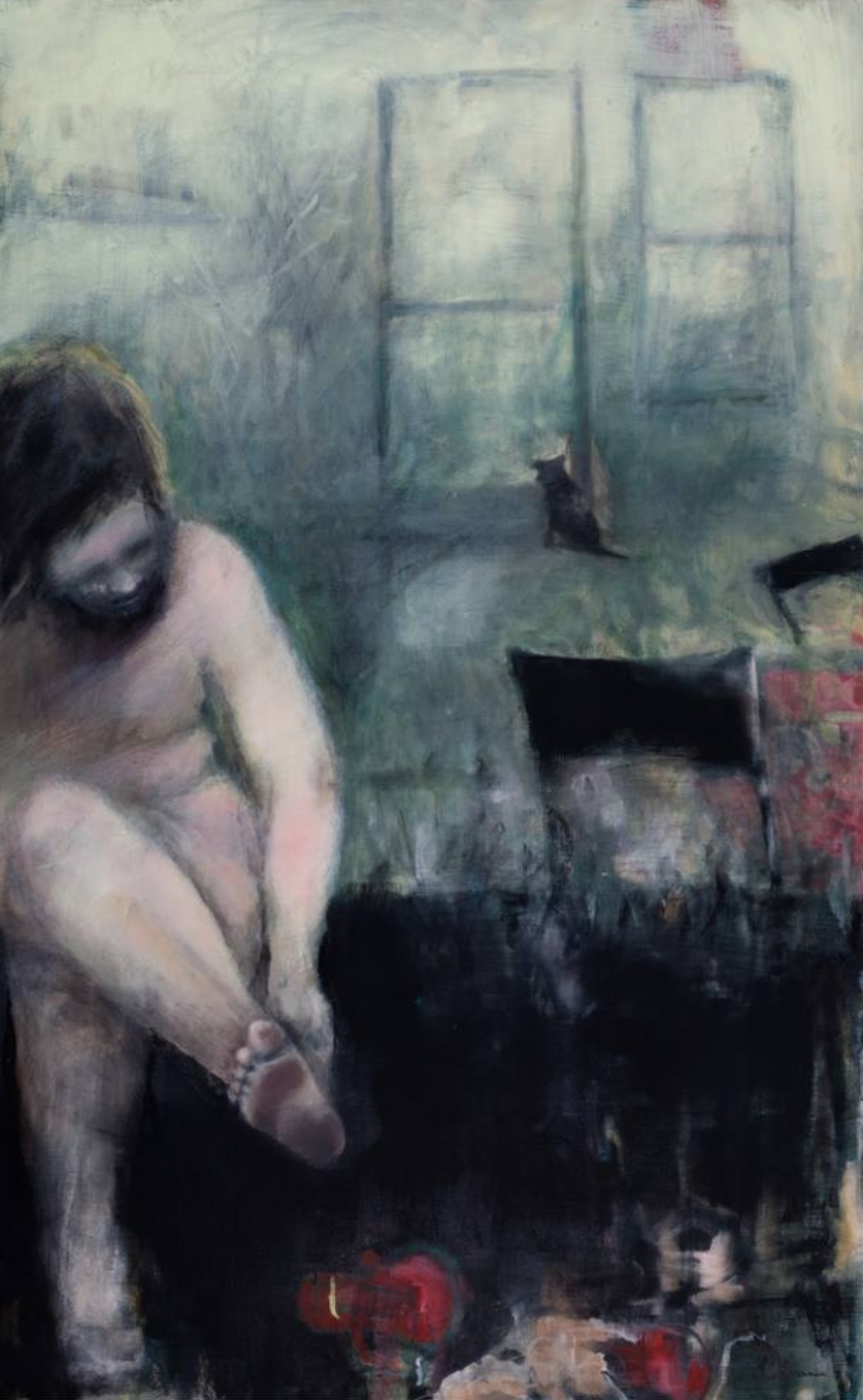A blurry painting of a woman changing in what appears to be a locker room.