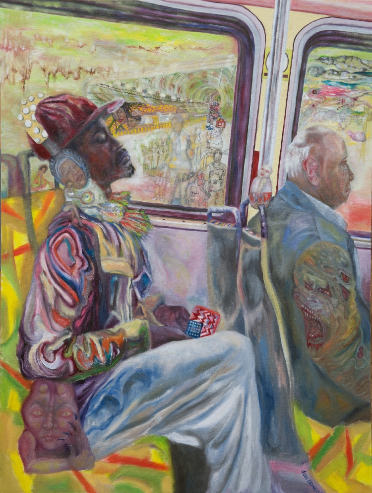"A painting of an adult black man riding the bus behind an older, ""better"" dressed white man, the former looking dreamingly pensive."