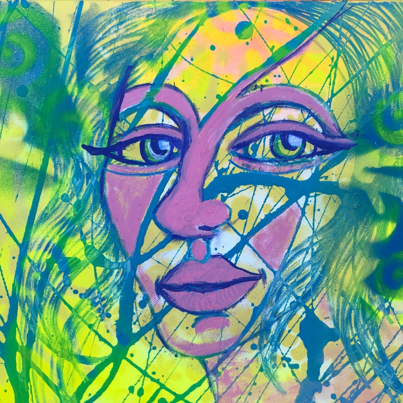 A painted portrait of a wary, purple-faced woman.