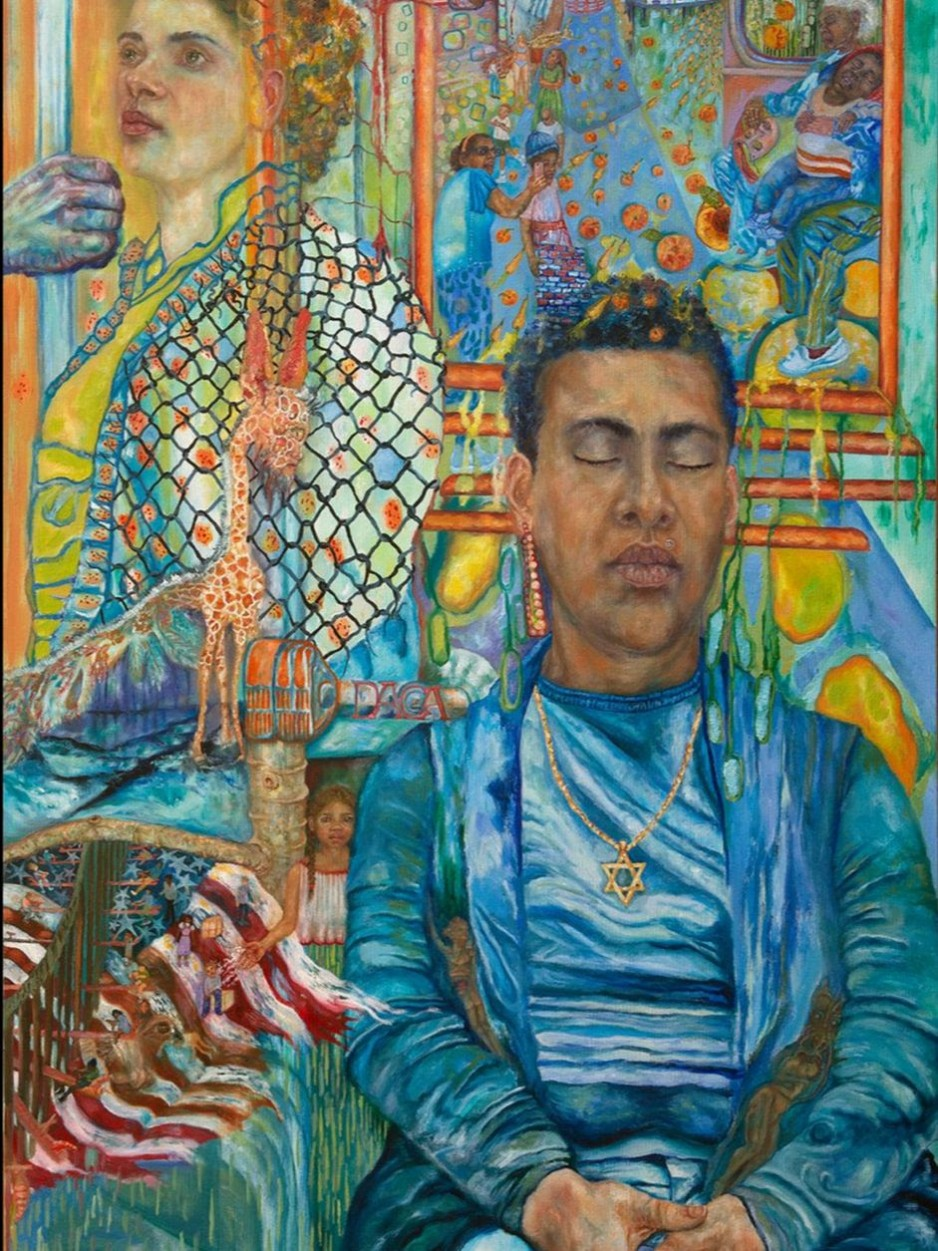 An painting of a young man of color, with a Star of Devid necklace, riding the subway with his eyes closed.