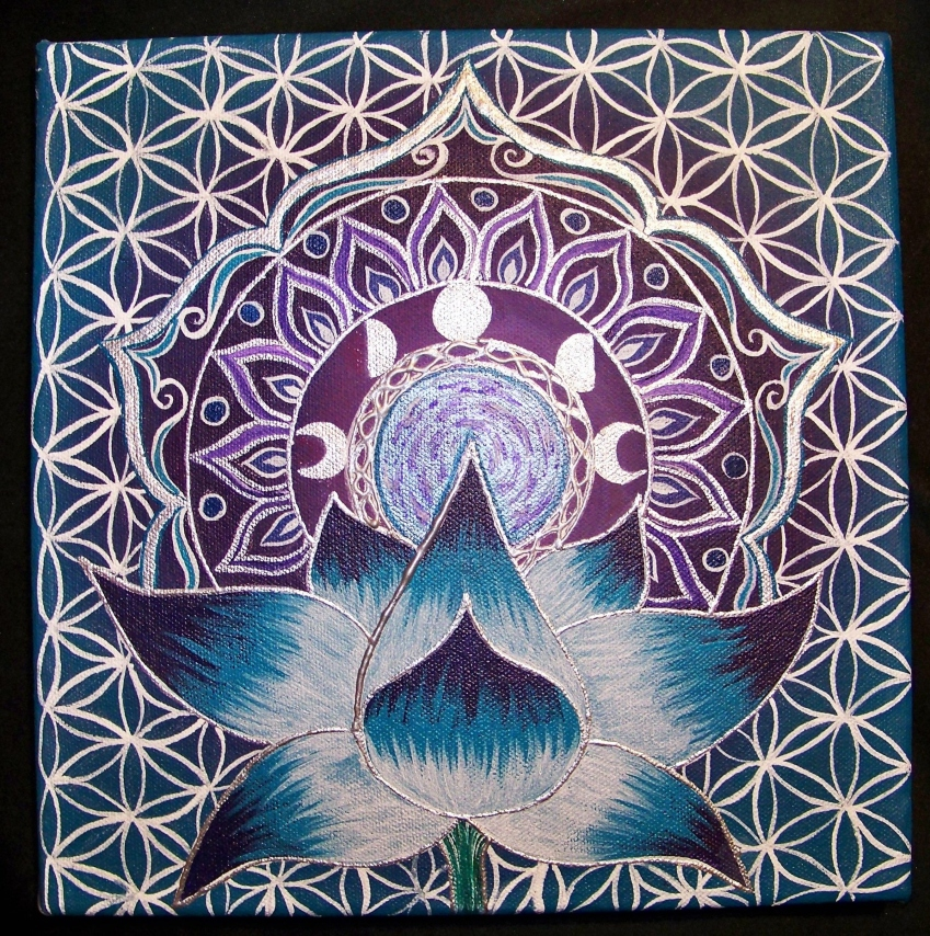 Painting on a black canvas. A blue and white lotus flower budding out a mandala type shapes showing the difference phases of the moon then flowering out which are all a white, purple of blue shade. The background of these images is a white patten of the flower of life.