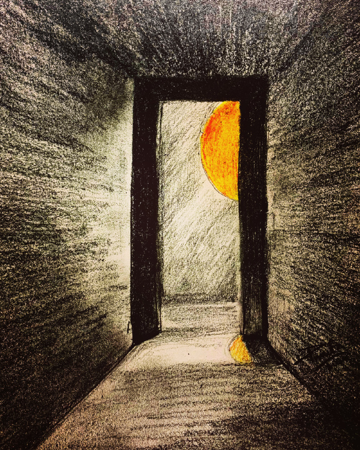 A doorway with a yellow bird peeping around the corner at a big sun.