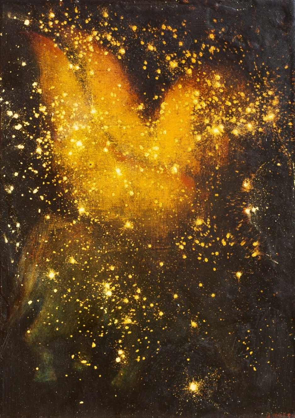 A black backdrop on wood with gold oil paint brushed and splattered. The gold is bright an illuminating.